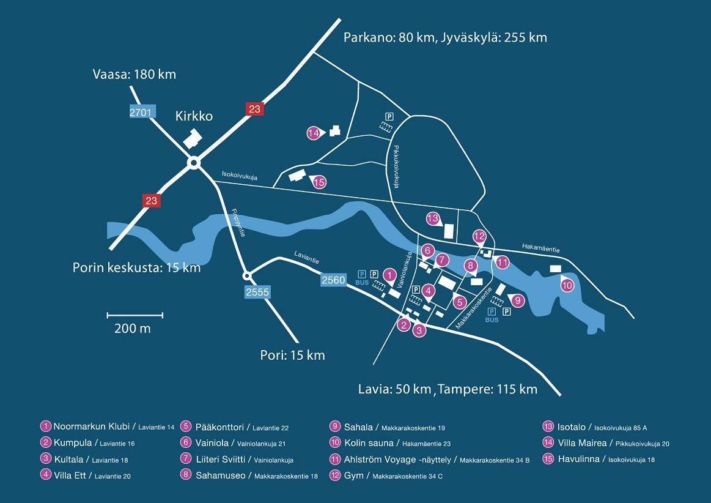 Ajo-ohje ja Noormarkun alueen kartta